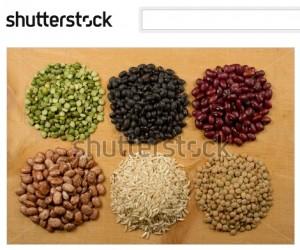 豆と穀物の山