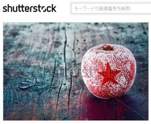 氷で星を模ったクリスマスのリンゴ