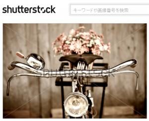 古い自転車と花